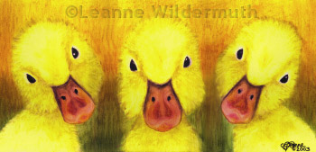 oil pastel painting ducklings original art print