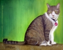 Custom Cat Portrait oil pastel pet painting tabby cat Oaktree