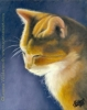 200409 Sweet Sabi orange tabby cat pet original art painting oil pastel