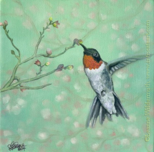 200420 Hummingbird red ruby throated bird art oil painting