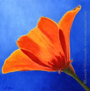 200427 Orange Poppie Poppies Painting India Ink Original Art