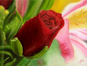 200437 Anniversary Rose oil painting art flower floral