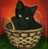 black cat kitten pet art oil painting art