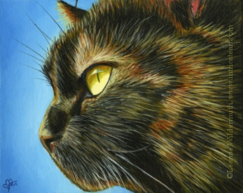200439 Tortie tortoiseshell cat pet oil painting portrait fur art