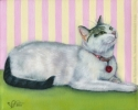custom cat petportrait gray grey white shorthair painting
