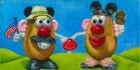 200527 Custom Tater Couple still life oil painting potato heads