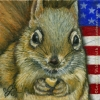 patriotic squirrel original oil painting wildlife