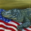 alligator wildlife patriotic oil painting gator art
