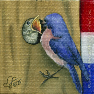 bluebird patriotic original oil painting art birds