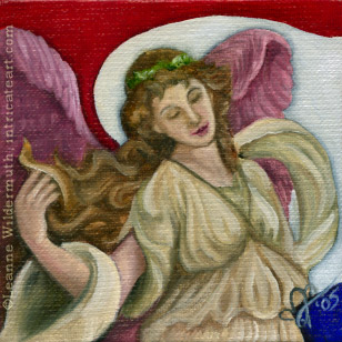 patriotic angel original oil painting art seraphim still life