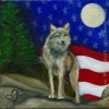 wolf painting patriotic oil wildlife painting art