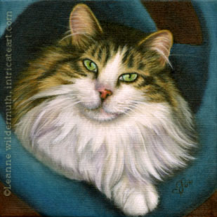 custom cat painting longhair green eyed pet portrait