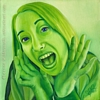 custom monochromatic oil portrait painting in green