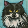 custom tuxedo longhair cat portait painting original art