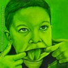 custom monochromatic green oil painting girl child people portrait original realistic fine art