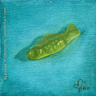 still life oil painting green swedish fish candy food eye ate it series