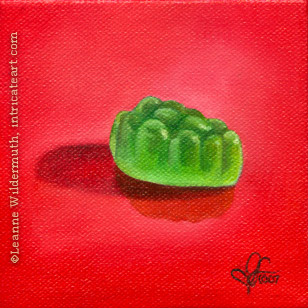 still life oil painting green jujyfruit candy food eye ate it series