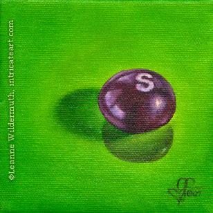 still life oil painting purple skittle skittles candy food eye ate it series