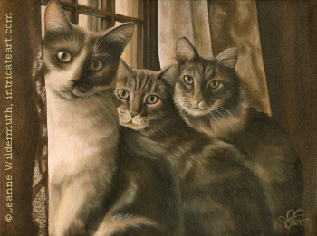 custom oil painting sepia monochromatic cat cats portrait original traditional realistic fine art