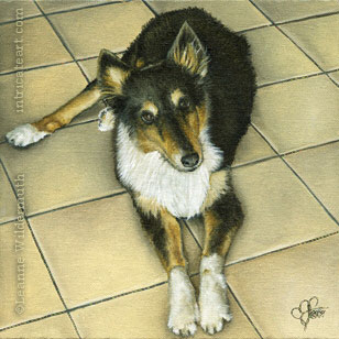 Custom Dog Portrait Tess monochromatic oil painting original traditional realistic fine art