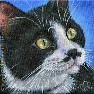 Custom Cat Portrait Rex tuxedo Groucho Marx oil painting original traditional realistic fine art