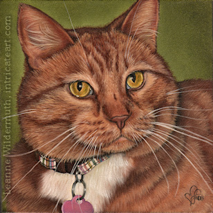 Pet Cat portrait Kona orange tabby painting
