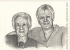 Custom Portrait Audrey and Janeice pencil drawing graphite original traditional realistic fine art Leanne Wildermuth