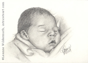 Custom baby Portrait Dylan pencil graphite drawing art by Leanne Wildermuth