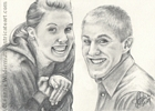Custom engagement portrait pencil graphite drawing art by Leanne Wildermuth