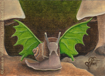 Snairy snail fairy art oil painting by Leanne Wildermuth
