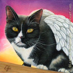 Custom tuxedo angel cat portrait oil painting art by Leanne Wildermuth