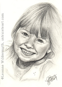 Custom child portrait girl pencil graphite drawing art by Leanne Wildermuth