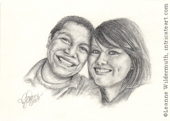 Custom child teen portrait girl boy best friends pencil graphite drawing art by Leanne Wildermuth