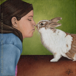 custom portrait girl bunny oil painting art by Leanne Wildermuth