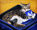 Custom cat portrait oil painting art by Leanne Wildermuth