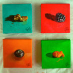 eye ate it paintings 1-4 walnut blackberry m&m goldfish art oil