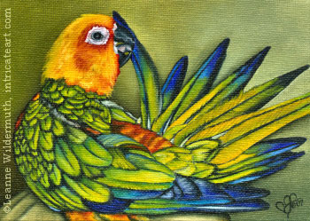 custom sun conure bird portrait oil painting original final scan leanne wildermuth art' class=