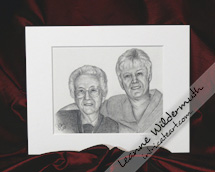custom graphite pencil drawing portrait mother and daughter by Leanne Wildermuth