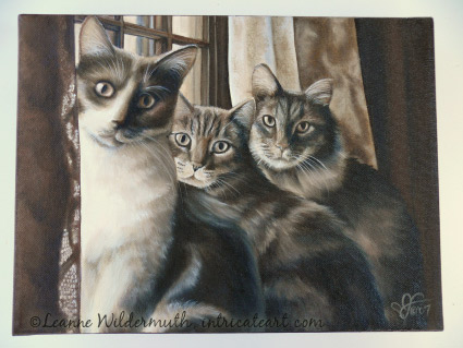 original custom monochromatic sepia oil cat portrait painting cats