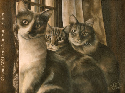 cat portrait oil monochromatic custom art painting original leanne wildermuth