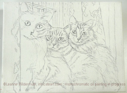 callie annie momo cat cats trio oil portrait painting sketch