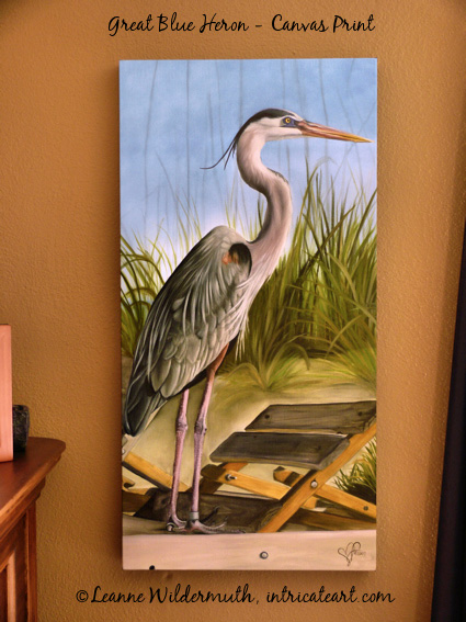 great blue heron canvas print original artist Leanne Wildermuth' class=