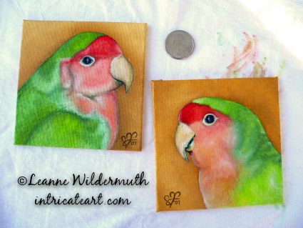 lovebird portrait paintings male bird custom oil art