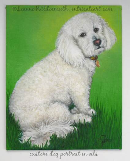 pet portrait dog painting oil original art leanne wildermuth' class=