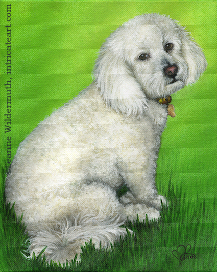 dog portrait completed custom oil painting leanne wildermuth poodle' class=