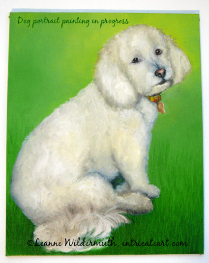 poodle painting work in progress custom pet portrait' class=