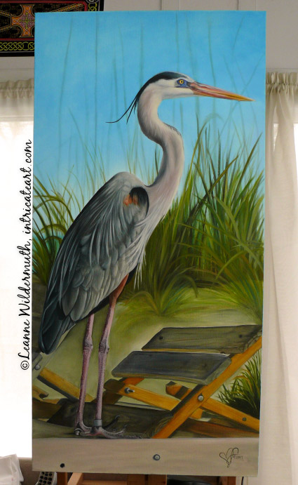 great blue heron work in progress oil painting original fine art realistic realism