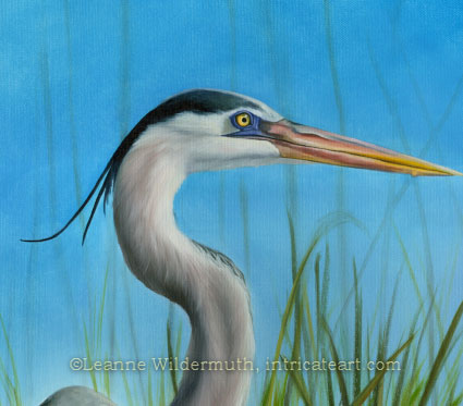 great blue heron original oil painting fine art leanne wildermuth