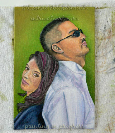 custom people portrait father daughter oil painting