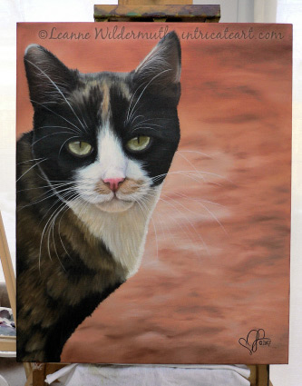 calico cat original oil painting art leanne wildermuth